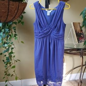 Max Studio blue cotton sun dress sz M eyelet hem